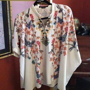 Anthropologie silk kimono blouse with pearl trim